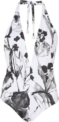 Silvia Tcherassi Gaynor Halter Floral Swimsuit