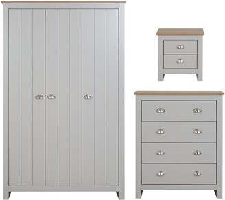 Atlanta 3 Piece Package - 3 Door Wardrobe, 4Drawer Chest and 2 DrawerBedside Table