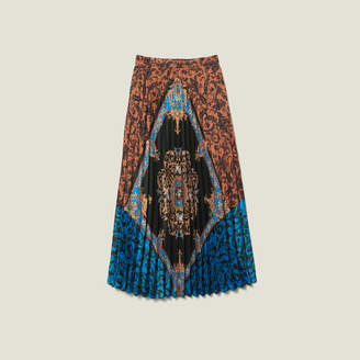 Sandro Long printed skirt with pleats