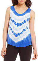 Calvin Klein Tie-Dye Knit Pleat Back Tank Top