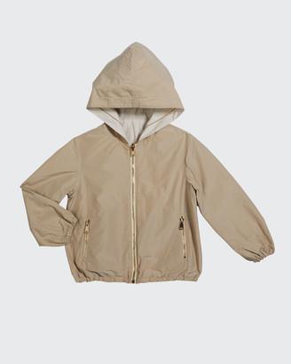 Brunello Cucinelli Girl's Reversible Zip-Front Taffeta Bomber Jacket, Size 4-6