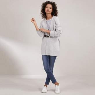 The White Company Cosy Turnback Cuff Cardigan, Pale Grey Marl, Large