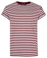 Topman Burgundy Stripe Muscle Fit Roller T-Shirt