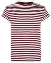 Topman Burgundy Stripe Muscle Fit Roller T-Shirt