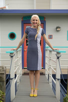 Shabby Apple Marina Fitted Stripe Dress Navy/White