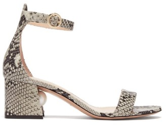 Nicholas Kirkwood Miri Pearl-heel Python-effect Leather Sandals - Womens - Python