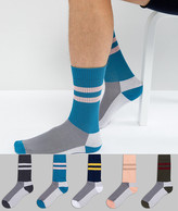 Asos Sports Style Socks With Contrast Heel And Toes 5 Pack