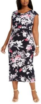 Connected Plus Size Floral-Print Midi Dress