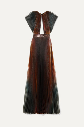 Givenchy Cutout Pleated Silk-blend Lame Gown - Blue