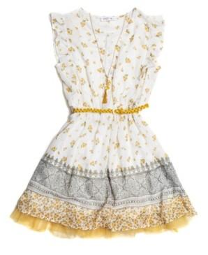Beautees Big Girls Floral-Print 4 Piece Dress Set