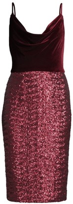 Black Halo Julissa Velvet & Sequin Sheath Dress