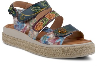 Spring Step L'Artiste by Leather Floral Sandals- Michay