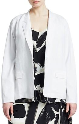 NIC+ZOE, Plus Size Front Runner Linen-Blend Blazer