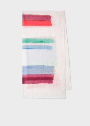 Paul Smith Women's Off-White 'Painted Stripe' Print Silk-Blend Scarf