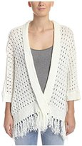 Bishop + Young Women's Open Weave Fringe Sweater