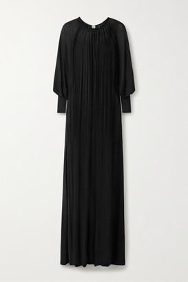 Totême Anville Oversized Gathered Stretch-knit Maxi Dress - Black