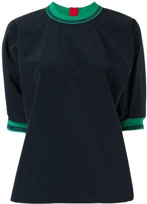 Kolor Logo Cuff And Collar Top