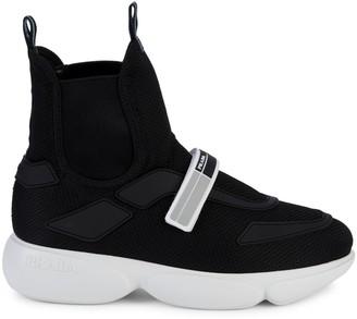 Prada Mesh Logo-Strap High-Top Sneakers