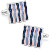 Ox and Bull Trading Co. Pink and Navy Striped Square Cufflinks