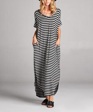 Love, Kuza Women's Maxi Dresses BLACK - Black & Gray Stripe Pocket Baseball-Hem Maxi Dress - Women