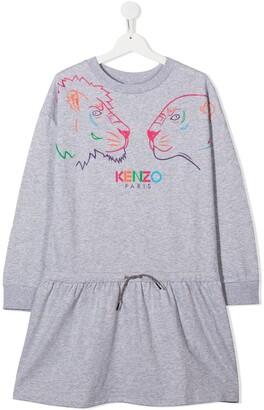 Kenzo Kids TEEN Tiger Friends print drawstring dress