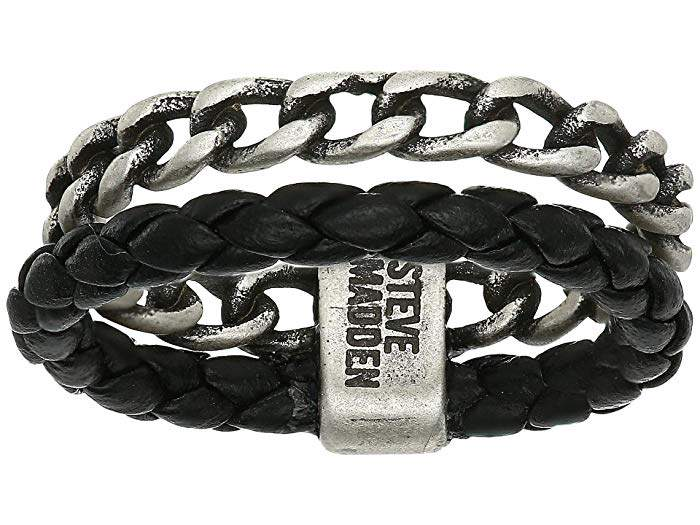 57f7c2fff0bc5 Curb Chain and Braided Faux Leather Double Strand Ring in Stainless Steel