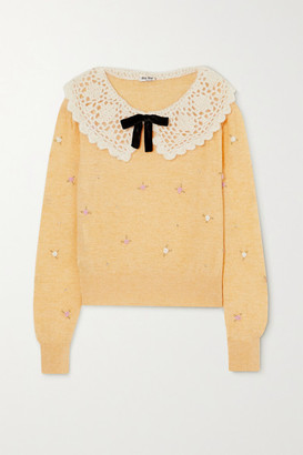 Miu Miu Crochet And Velvet-trimmed Embellished Wool Sweater - Yellow