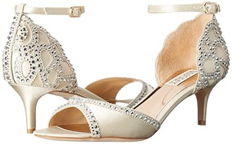 Badgley Mischka Gillian (Ivory Satin/Suede) Women's 1-2 inch heel Shoes