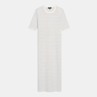 Theory Ribbed Midi Dress in Striped Stretch Knit