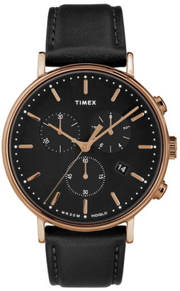 Timex Fairfiled Leather Strap Watch, 41mm