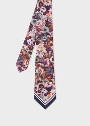 Paul Smith Men's Multi-Coloured 'Floral' Print Silk Tie