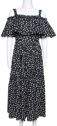 Dolce & Gabbana Black Pois Print Cotton Tiered Maxi Dress M