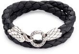 John Hardy Onyx silver eagle braided leather wraparound bracelet