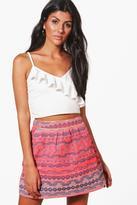 boohoo Bea Woven Aztec Mini Skirt rose