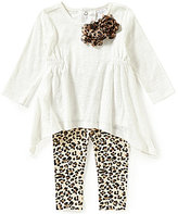 Starting Out Baby Girls 3-24 Months Sharkbite Top and Leopard Print Leggings Set