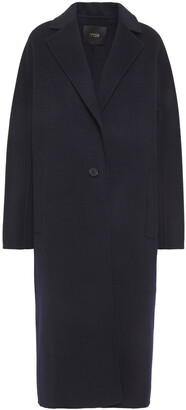 Maje Wool And Cotton-blend Felt Coat