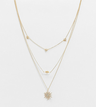 ASOS DESIGN 14k gold plated multirow necklace with crystal starburst pendants