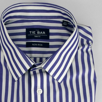 Tie Bar Oversized Vertical Stripe Blue Non-Iron Dress Shirt