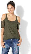 New York & Co. Soho Jeans Lace Cold-Shoulder Top