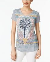 Style&Co. Style & Co Sequined Palm Tree Graphic T-Shirt, Created for Macy's
