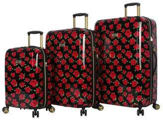 Betsey Johnson Luggage Covered Roses Hard Shell 3-Piece Luggage Set