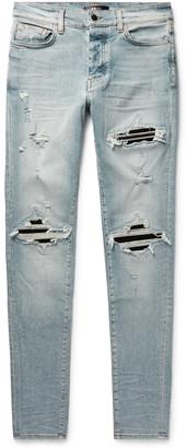 Amiri Mx1 Ultra Skinny-Fit Distressed Panelled Stretch-Denim Jeans