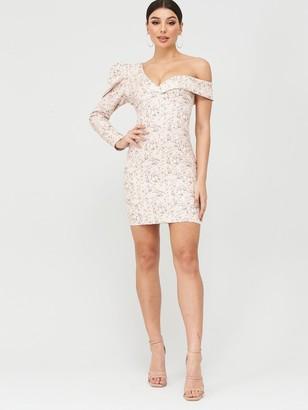 Lavish Alice Statement Shoulder Mini Dress - Beige