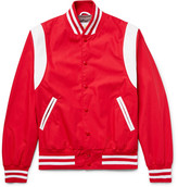 GoldenBear Golden Bear - Leather-panelled Poplin Bomber Jacket - Red