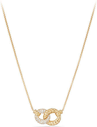 David Yurman Belmont Extra-Small 18K Yellow Gold Double-Link Necklace with Diamonds