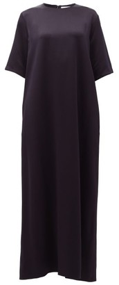 Raey Crew-neck Satin-back Crepe Maxi Dress - Navy