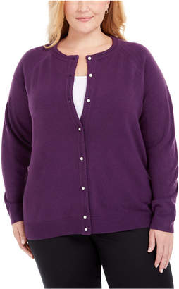 Karen Scott Plus Size Luxsoft Pearl Button Cardigan