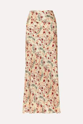 Paco Rabanne Floral-print Crepe De Chine Maxi Skirt - Pink