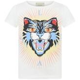 Gucci GUCCIGirls White Wild Cat Print Top