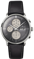 Junghans 027/4525.01 Meister Automatic Chronoscope Day Date Leather Strap Watch, Black/grey